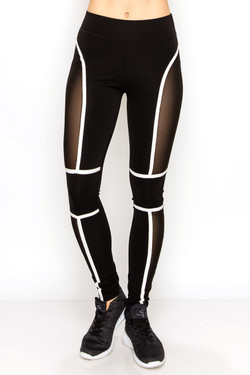Wholesale Contour Linear Sport Mesh Workout Leggings