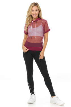 Wholesale Premium Select Full Mesh Jacket with Slenderize Workout Leggings Set - Red