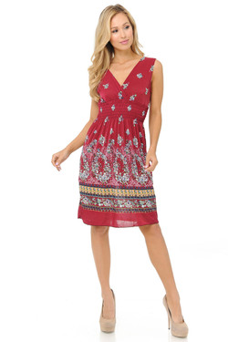 Wholesale Fashion Casual Ruby Red Floral Deep-V Summer Dress