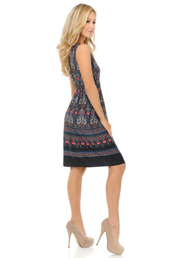 Wholesale Fashion Casual Paisley Cascade Deep-V Summer Dress