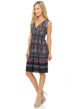 Wholesale Fashion Casual Paisley Cascade Deep-V Summer Dress