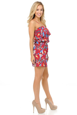 Wholesale Fashion Casual Ravishing Red Floral Romper