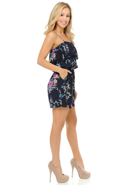 Wholesale Fashion Casual Beige and Pink Floral Romper
