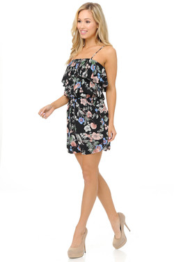 Wholesale Fashion Casual Beige and Blue Floral Romper