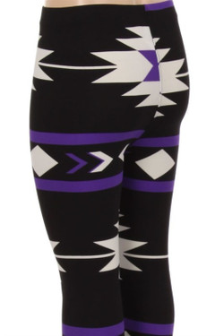 Wholesale Buttery Soft Purple Azteca Tribal Kids Leggings