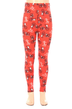 Wholesale Buttery Red Summertime Bicycles Kids Leggings