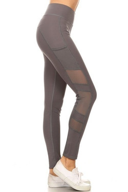 Wholesale Side Mesh Panel Sport Leggings