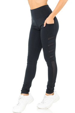 Black Wholesale Fluid Motion High Waisted Side Mesh Workout Leggings