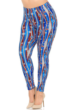 Wholesale Buttery Soft Metallic USA Flag Extra Plus Size Leggings - 3X-5X