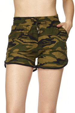 Wholesale Buttery Soft Green Camouflage Dolphin Shorts