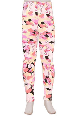 Wholesale Buttery Soft Gorgeous Pink Flamingos Kids Leggings