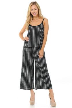 Wholesale Textured Stripes Summer Palazzo Capri and Spaghetti Tank Top Set