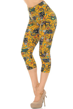 Wholesale Buttery Soft Kitty Cat Mustard Sugar Skull Capris