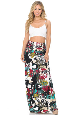 Wholesale Buttery Soft Summer Picasso Maxi Skirt
