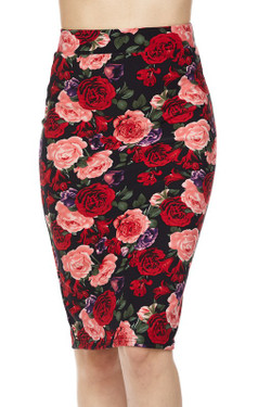Wholesale Silky Soft Vivid Rose Scuba Pencil Skirt