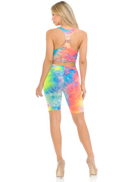 Wholesale 2 Piece Summer Shorts and Bra Top Set - Neon