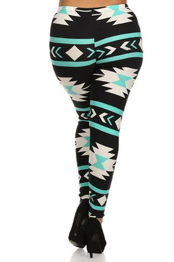 Wholesale Buttery Soft Mint on Black Azteca Tribal Extra Plus Size Leggings - 3X-5X