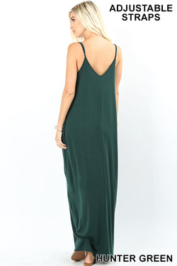 Wholesale Adjustable V-Neck Rayon Maxi Dress with Pockets - 51 Inch Length