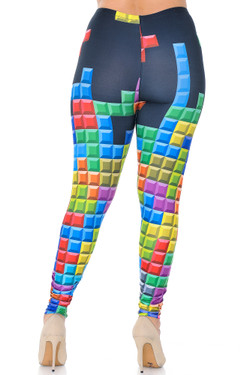 Wholesale Creamy Soft Tetris Extra Plus Size Leggings - 3X-5X - USA Fashion™