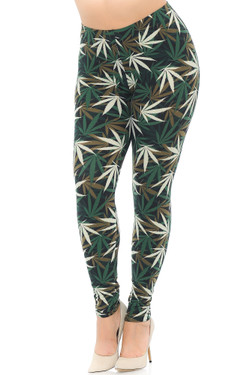 Wholesale Buttery Soft Earthen Marijuana Extra Plus Size Leggings - 3X-5X