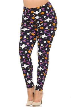 Wholesale Buttery Soft Trick or Treat Halloween Extra Plus Size Leggings - 3X-5X