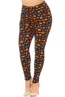 Wholesale Buttery Soft Pumpkins Cauldrons and Candles Halloween Extra Plus Size Leggings - 3X-5X
