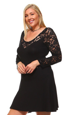 Wholesale Sweetheart A-Line Lace Bodice and Sleeves Plus Size Dress