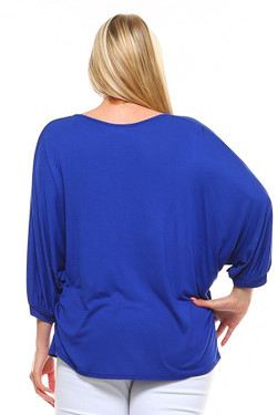 Wholesale Split Round Neckline Relaxed Fit Dolman Sleeve Rayon Plus Size Top