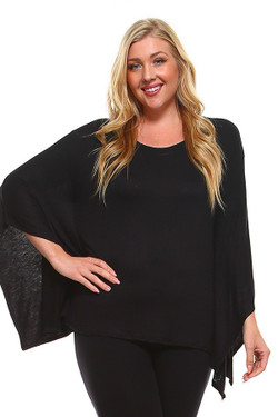 Wholesale Round Neck Cape Style Sleeveless Rayon Plus Size Top