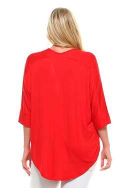Wholesale V-Neck 3/4 Sleeve High-Low Hem Rayon Plus Size Top