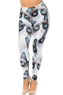 Wholesale Creamy Soft Grumpy Cat Extra Plus Size Leggings - 3X-5X - USA Fashion™