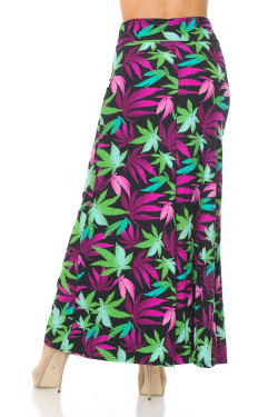 Wholesale Buttery Soft Fuchsia Marijuana Maxi Skirt