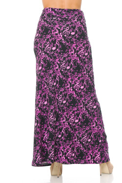 Wholesale Buttery Soft Electric Fuchsia Music Note Maxi Skirt