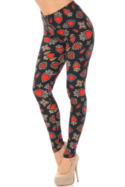 Wholesale Buttery Soft Jeweled Hearts Extra Plus Size Leggings - 3X-5X