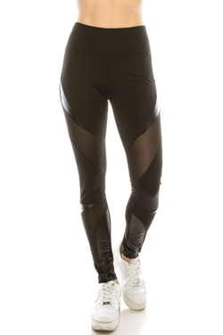 Wholesale Cruiser PU Mesh Mix High Waisted Sport Leggings
