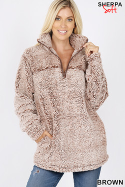 Wholesale Popcorn Sherpa Half Zip Pullover with Side Pockets