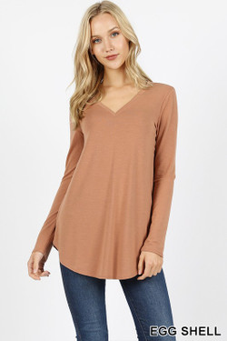 Wholesale Premium V-Neck Round Hem Long Sleeve Top