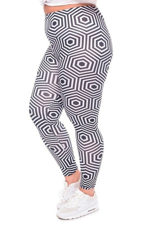 WOLHypnoseHexagonX - Wholesale Brushed Graphic Plus Size Leggings