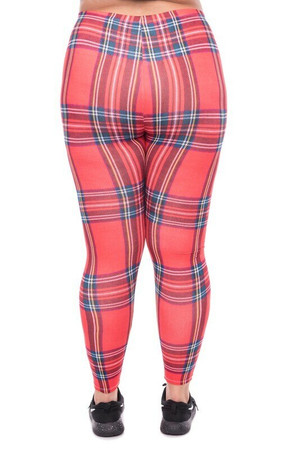 WOLRedPlaidX - Wholesale Brushed Graphic Plus Size Leggings