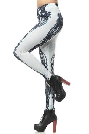 Wholesale Premium Graphic White Steampunk Skeleton Leggings