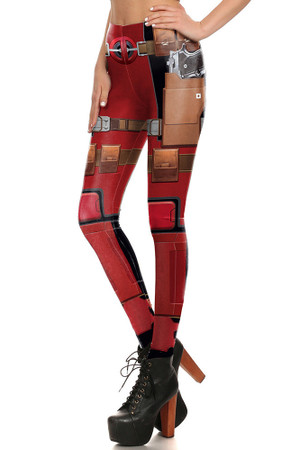 Left side leg image of DP-1683KDK - Wholesale Premium Graphic Leggings