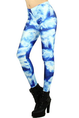 Left side leg image of Wholesale Premium Graphic Print Animal Vapor Leggings