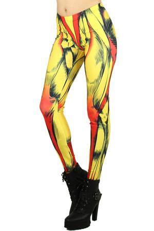 Left side leg image of Wholesale Graphic Printed Comic Muscle Leggings