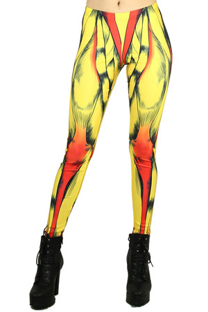 Front side image of Wholesale Graphic Printed Comic Muscle Leggings