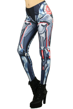 Left side leg image of Wholesale Premium Graphic Mecha Robotic Leggings
