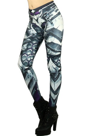 Left side leg image of Wholesale Premium Graphic Chunky Plate Armor Leggings
