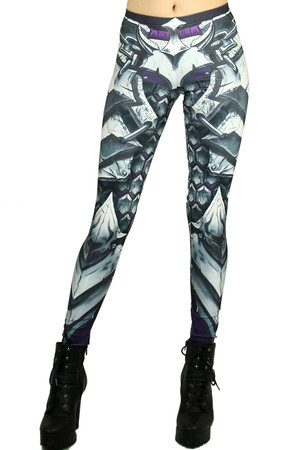 Front side image of Wholesale Premium Graphic Chunky Plate Armor Leggings