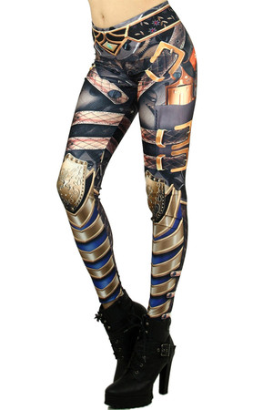 Left side leg image of Wholesale Graphic Print Steampunk Armor Leggings