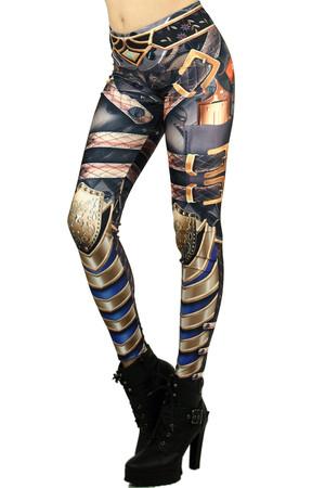 Left side leg image of Wholesale Graphic Print Steampunk Armor Leggings