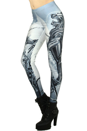 Left side leg image of Wholesale Graphic Printed Cyborg Lion Leggings